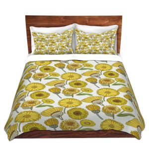 Artistic Duvet Covers and Shams Bedding   Pom Graphic Design - Calendula Flowers   Flowers Nature Pattern