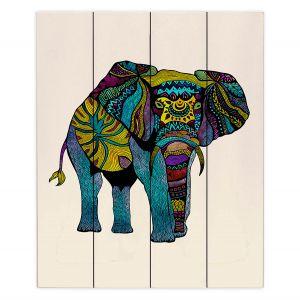 Decorative Wood Plank Wall Art | Pom Graphic Design - Elephant of Namibia | Animals Patterns Elephant