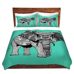 Artistic Duvet Covers and Shams Bedding   Pom Graphic Design - Elephant of Namibia Teal   Animals Patterns Elephant