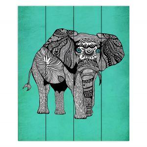 Decorative Wood Plank Wall Art   Pom Graphic Design - Elephant of Namibia Teal   Animals Patterns Elephant