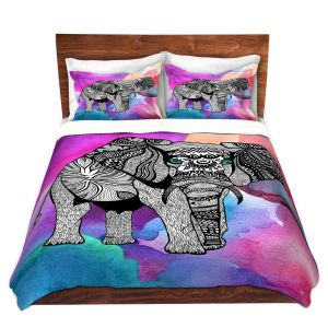 Artistic Duvet Covers and Shams Bedding | Pom Graphic Design - Elephant of Namibia Watercolor | Animals Patterns Elephant