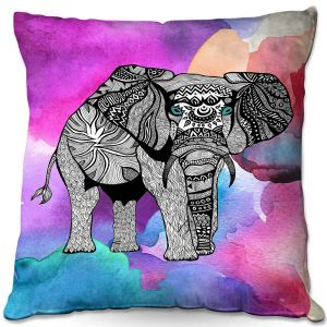 Decorative Outdoor Patio Pillow Cushion | Pom Graphic Design - Elephant of Namibia Watercolor | Animals Patterns Elephant