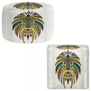 Round and Square Ottoman Foot Stools | Pom Graphic Design - Emperor Tribal Lion I