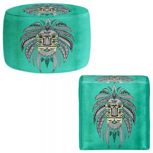 Round and Square Ottoman Foot Stools | Pom Graphic Design - Emperor Tribal Lion Turquesa