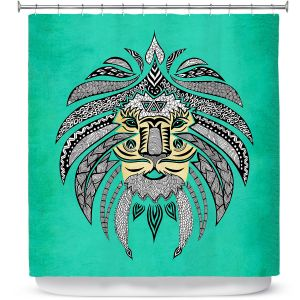 Premium Shower Curtains | Pom Graphic Design Emperor Tribal Lion Turquesa