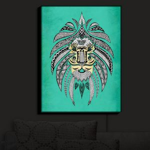 Nightlight Sconce Canvas Light | Pom Graphic Design's Emperor Tribal Lion Turquesa