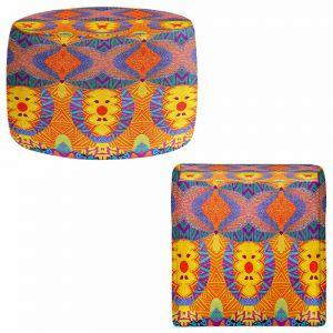 Round and Square Ottoman Foot Stools | Pom Graphic Design - Ethnic Sun I