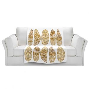 Artistic Sherpa Pile Blankets | Pom Graphic Design - Golden Feathers