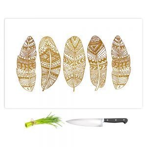 Artistic Kitchen Bar Cutting Boards | Pom Graphic Design - Golden Feathers