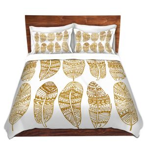 Artistic Duvet Covers and Shams Bedding | Pom Graphic Design - Golden Feathers