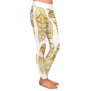 Casual Comfortable Leggings | Pom Graphic Design - Golden Feathers