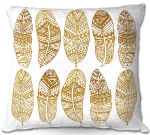 Decorative Outdoor Patio Pillow Cushion | Pom Graphic Design - Golden Feathers