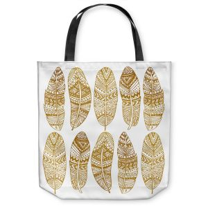 Unique Shoulder Bag Tote Bags |Pom Graphic Design - Golden Feathers