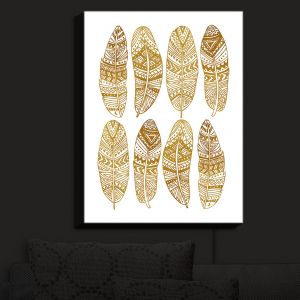 Nightlight Sconce Canvas Light | Pom Graphic Design - Golden Feathers | Feathers Patterns