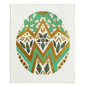Artistic Sherpa Pile Blankets | Pom Graphic Design - Golden Nature Mandala ll