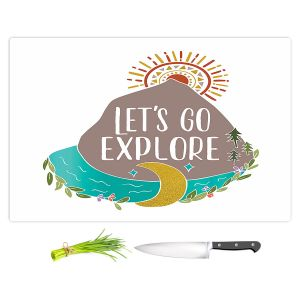 Artistic Kitchen Bar Cutting Boards | Pom Graphic Design - Lets Go Explore | Nature Mountains Typography Text