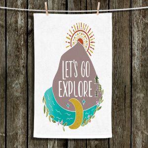 Unique Hanging Tea Towels | Pom Graphic Design - Lets Go Explore | Nature Mountains Typography Text