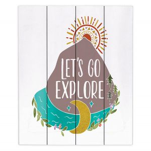 Decorative Wood Plank Wall Art   Pom Graphic Design - Lets Go Explore   Nature Mountains Typography Text