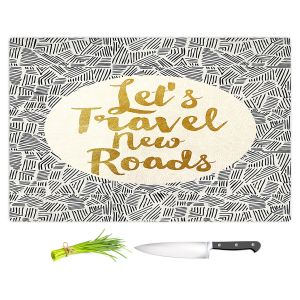 Artistic Kitchen Bar Cutting Boards | Pom Graphic Design - Lets Travel New Roads | Pattern Typography