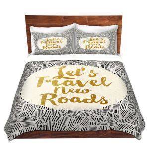 Artistic Duvet Covers and Shams Bedding | Pom Graphic Design - Lets Travel New Roads | Pattern Typography