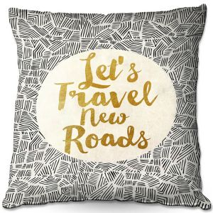 Decorative Outdoor Patio Pillow Cushion | Pom Graphic Design - Lets Travel New Roads | Pattern Typography