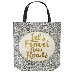 Unique Shoulder Bag Tote Bags | Pom Graphic Design - Lets Travel New Roads | Pattern Typography