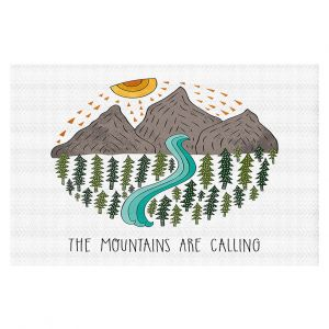 Decorative Floor Covering Mats | Pom Graphic Design - Mountains are Calling | Nature outdoors river forest