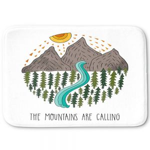 Decorative Bathroom Mats | Pom Graphic Design - Mountains are Calling | Nature outdoors river forest