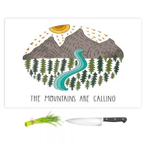 Artistic Kitchen Bar Cutting Boards | Pom Graphic Design - Mountains are Calling | Nature outdoors river forest