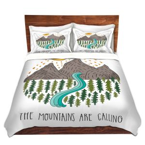 Artistic Duvet Covers and Shams Bedding | Pom Graphic Design - Mountains are Calling | Nature outdoors river forest