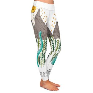 Casual Comfortable Leggings | Pom Graphic Design - Mountains are Calling | Nature outdoors river forest