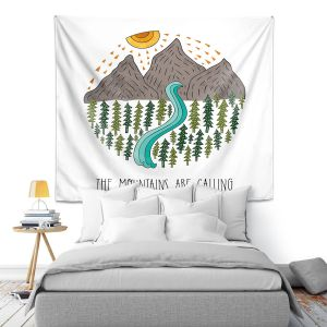 Artistic Wall Tapestry | Pom Graphic Design - Mountains are Calling | Nature outdoors river forest