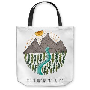 Unique Shoulder Bag Tote Bags | Pom Graphic Design - Mountains are Calling | Nature outdoors river forest