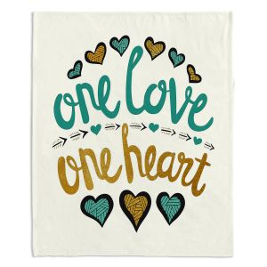 Decorative Fleece Throw Blankets | Pom Graphic Design - One Love One Heart Golds