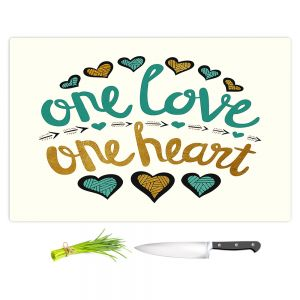 Artistic Kitchen Bar Cutting Boards | Pom Graphic Design - One Love One Heart Golds