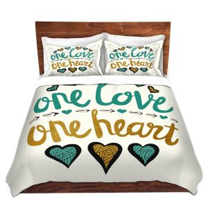 Artistic Duvet Covers and Shams Bedding | Pom Graphic Design - One Love One Heart Golds