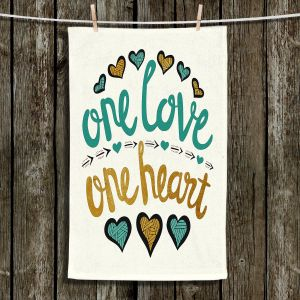 Unique Hanging Tea Towels | Pom Graphic Design - One Love One Heart Golds | Sayings One Love One Heart