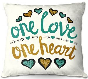 Decorative Outdoor Patio Pillow Cushion | Pom Graphic Design - One Love One Heart Golds