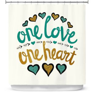 Premium Shower Curtains | Pom Graphic Design - One Love One Heart Golds