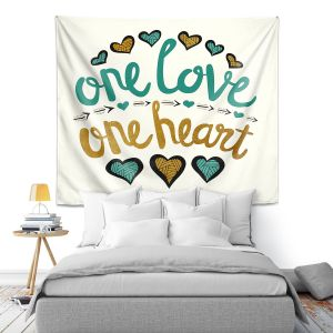 Artistic Wall Tapestry | Pom Graphic Design - One Love One Heart Golds