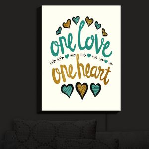 Nightlight Sconce Canvas Light | Pom Graphic Design - One Love One Heart Golds | Sayings One Love One Heart