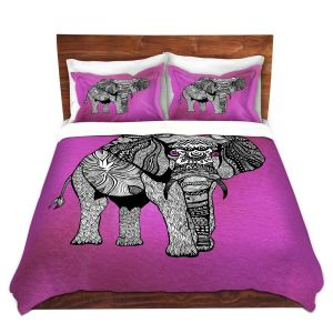 Artistic Duvet Covers and Shams Bedding   Pom Graphic Design - One Tribal Elephant Pink
