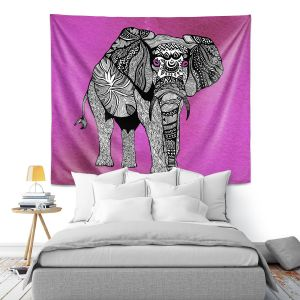 Artistic Wall Tapestry   Pom Graphic Design - One Tribal Elephant Pink