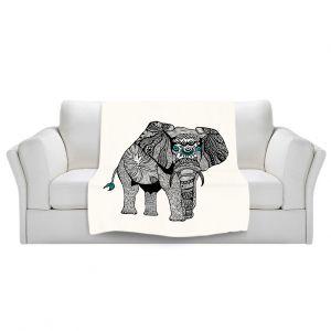 Artistic Sherpa Pile Blankets | Pom Graphic Design One Tribal Elephant