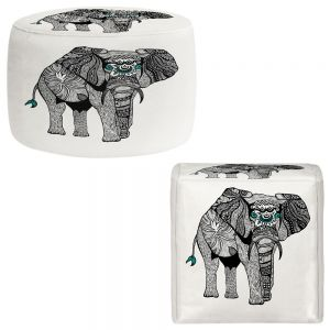 Round and Square Ottoman Foot Stools | Pom Graphic Design - One Tribal Elephant
