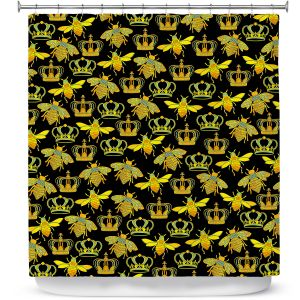 Premium Shower Curtains | Pom Graphic Design - Queen Honey Bees Green Black | insects bug pattern nature