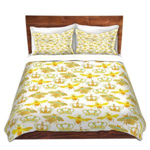Artistic Duvet Covers and Shams Bedding | Pom Graphic Design - Queen Honey Bees Green | insects bug pattern nature