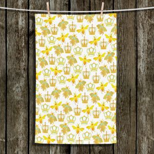 Unique Bathroom Towels | Pom Graphic Design - Queen Honey Bees Green | insects bug pattern nature