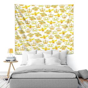 Artistic Wall Tapestry | Pom Graphic Design - Queen Honey Bees Green | insects bug pattern nature