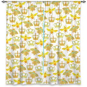 Decorative Window Treatments   Pom Graphic Design - Queen Honey Bees Green   insects bug pattern nature